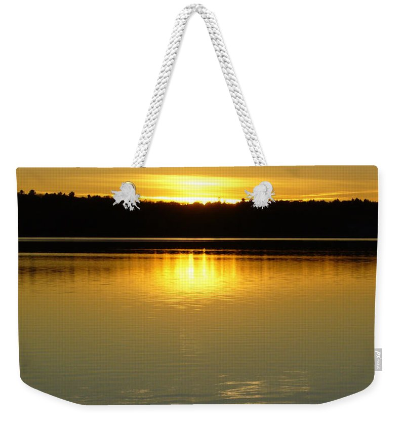 Lake Weekender Tote Bag featuring the photograph Golden Dusk by Shirley Radebach