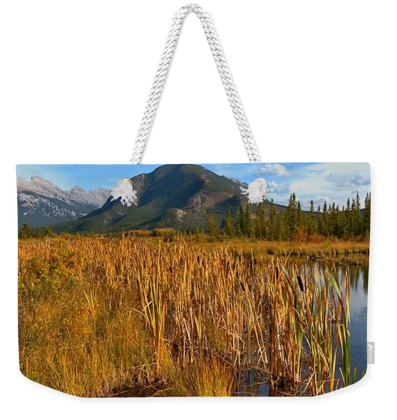 Bulrush Weekender Tote Bag featuring the photograph Golden Fall by James Anderson