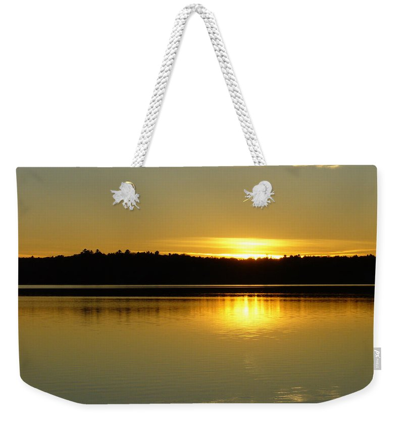 Lake Weekender Tote Bag featuring the photograph Golden Glow by Shirley Radebach