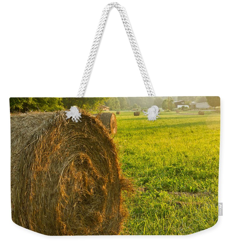 Hay Weekender Tote Bag featuring the photograph Golden Hay Field by Douglas Barnett