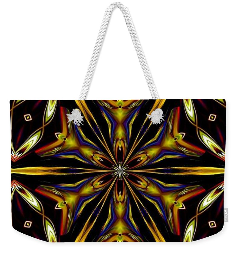 Golden Weekender Tote Bag featuring the digital art Golden Kaleidoscope by Maria Urso