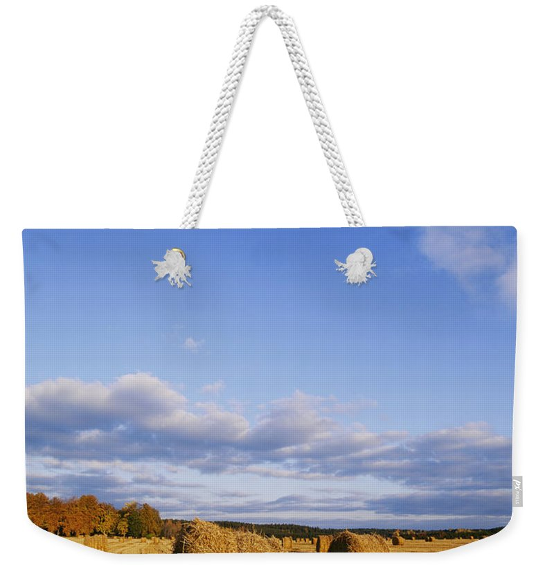 Scenic Views Weekender Tote Bag featuring the photograph Golden Rolls Of Hay In A Field by Mattias Klum