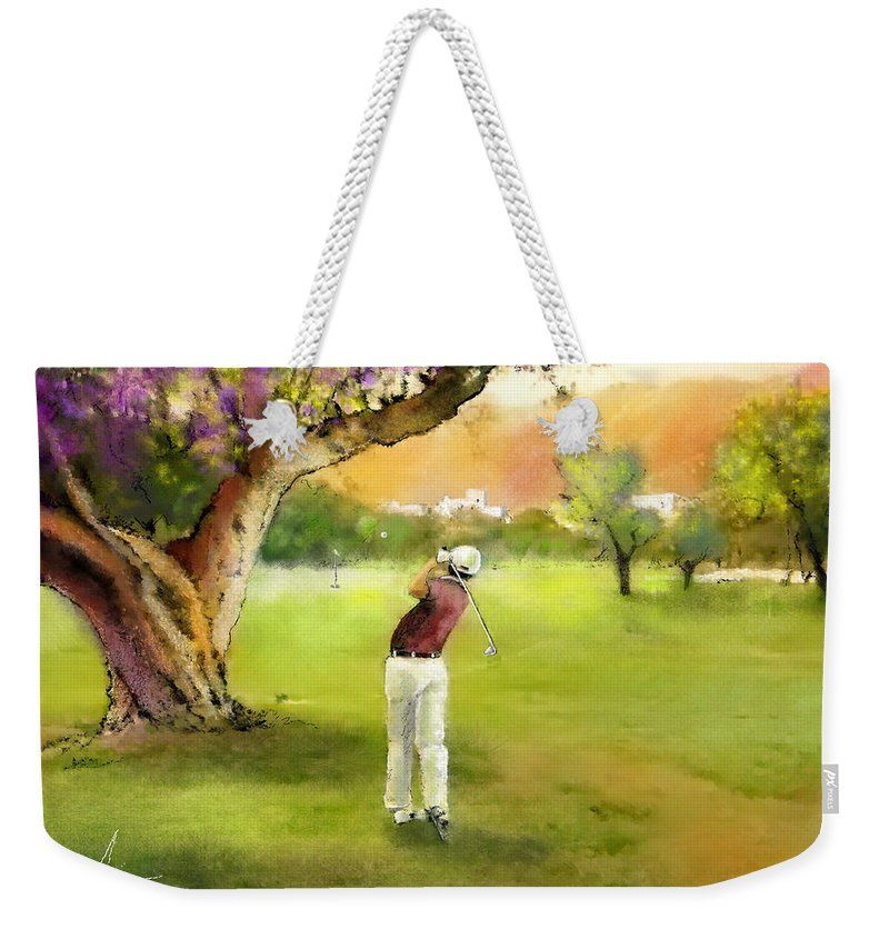 Golf Weekender Tote Bag featuring the painting Golf In Spain Castello Masters 04 by Miki De Goodaboom