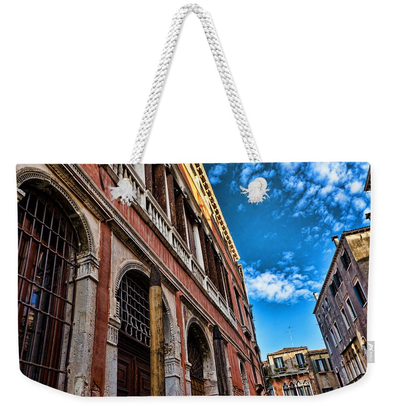 Blue Sky Weekender Tote Bag featuring the photograph Gondola View by Jon Berghoff