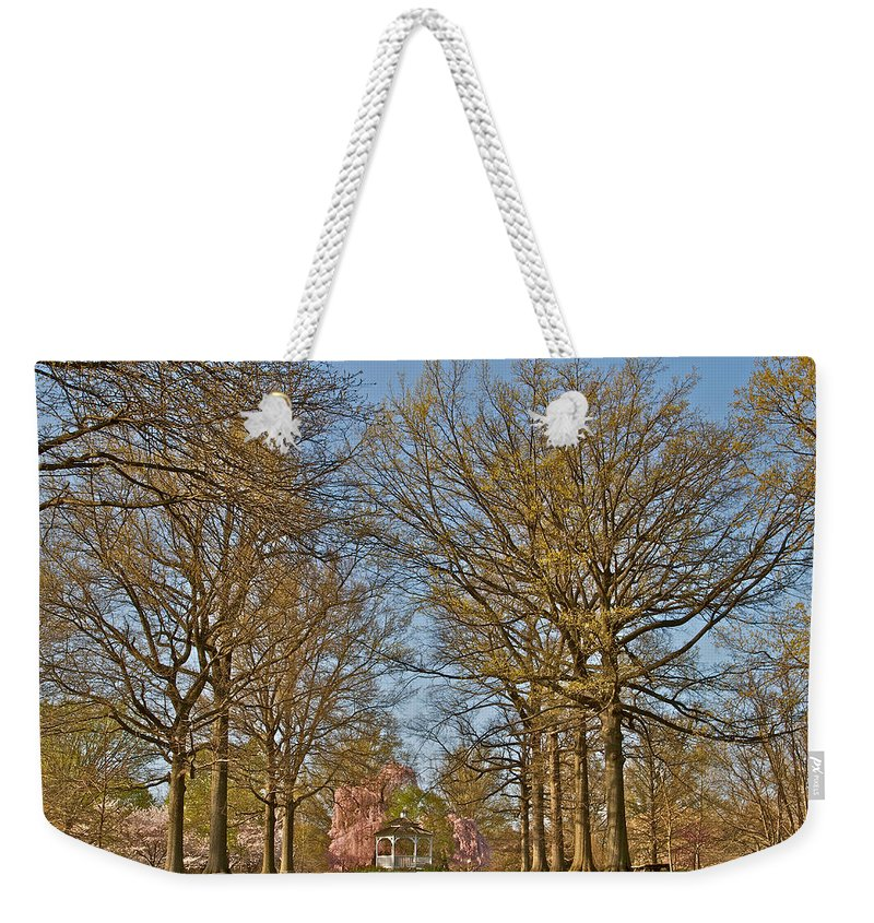 Scenic Trees Gazebo Cherry Blossoms Philadelphia Japanese Gardens Fairmount Weekender Tote Bag featuring the photograph Gorgeous by Alice Gipson