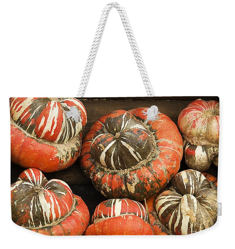 Fall Weekender Tote Bag featuring the photograph Gorgeous Gourds by Jim And Emily Bush