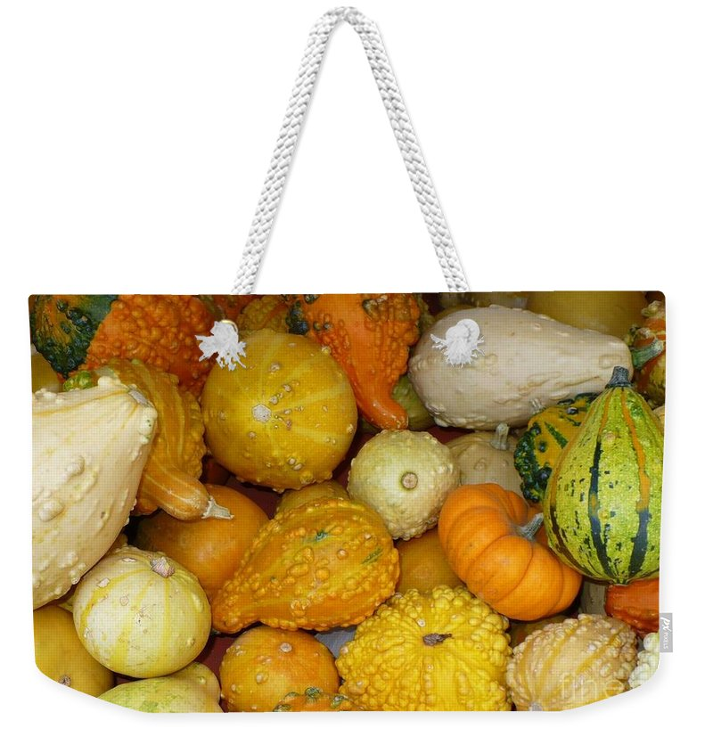 Autumn Weekender Tote Bag featuring the photograph Gourds Galore by Carol Groenen
