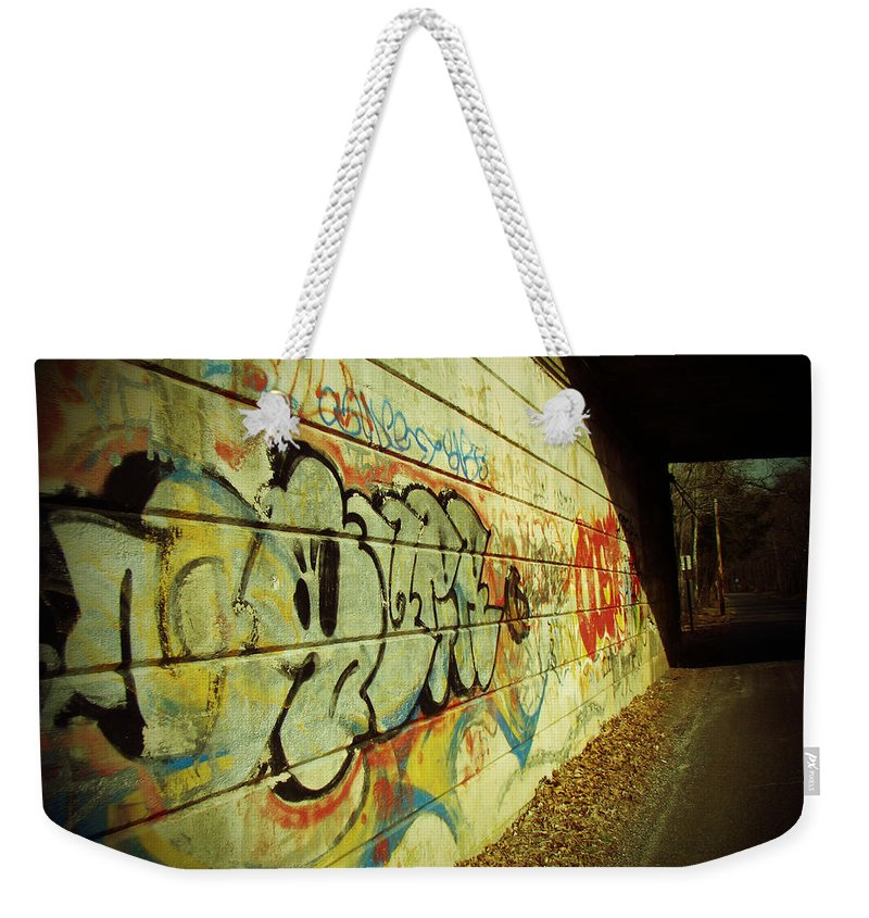 Graffiti Weekender Tote Bag featuring the photograph Graffiti Under The Bridge by Mother Nature