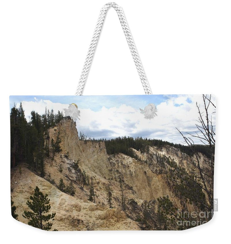 Grand Canyon Weekender Tote Bag featuring the photograph Grand Canyon Cliff In Yellowstone by Living Color Photography Lorraine Lynch