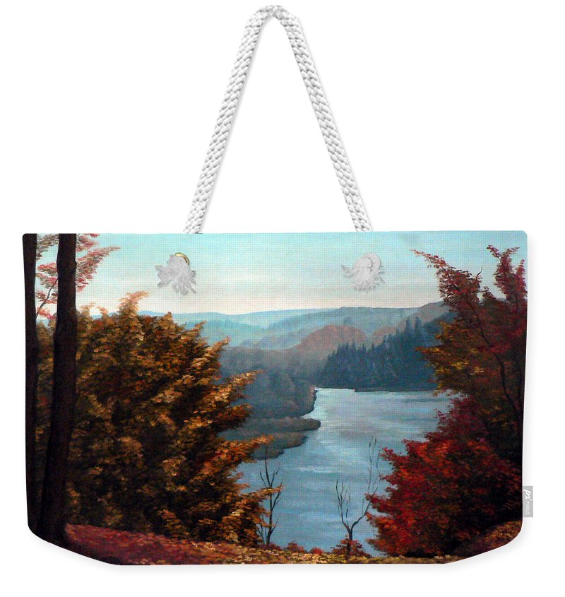 Painting Of Grand River Weekender Tote Bag featuring the painting Grand River Look-out by Hanne Lore Koehler