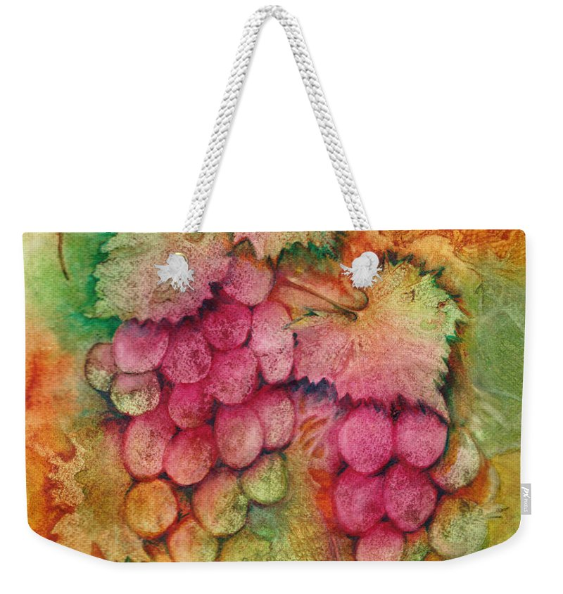 Grapes Weekender Tote Bag featuring the painting Grapes With Rust Background by Carla Parris
