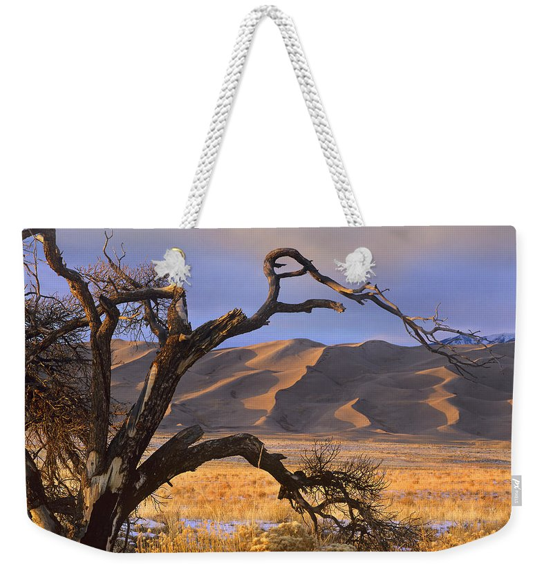 00176731 Weekender Tote Bag featuring the photograph Grasslands And Dunes Great Sand Dunes by Tim Fitzharris