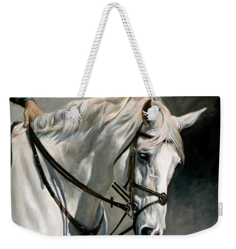 Equine Weekender Tote Bag featuring the painting Gray by Carole Andreen-Harris