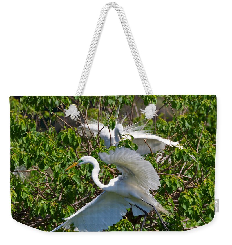 Egret Weekender Tote Bag featuring the photograph Great Egret In Flight by Louise Heusinkveld
