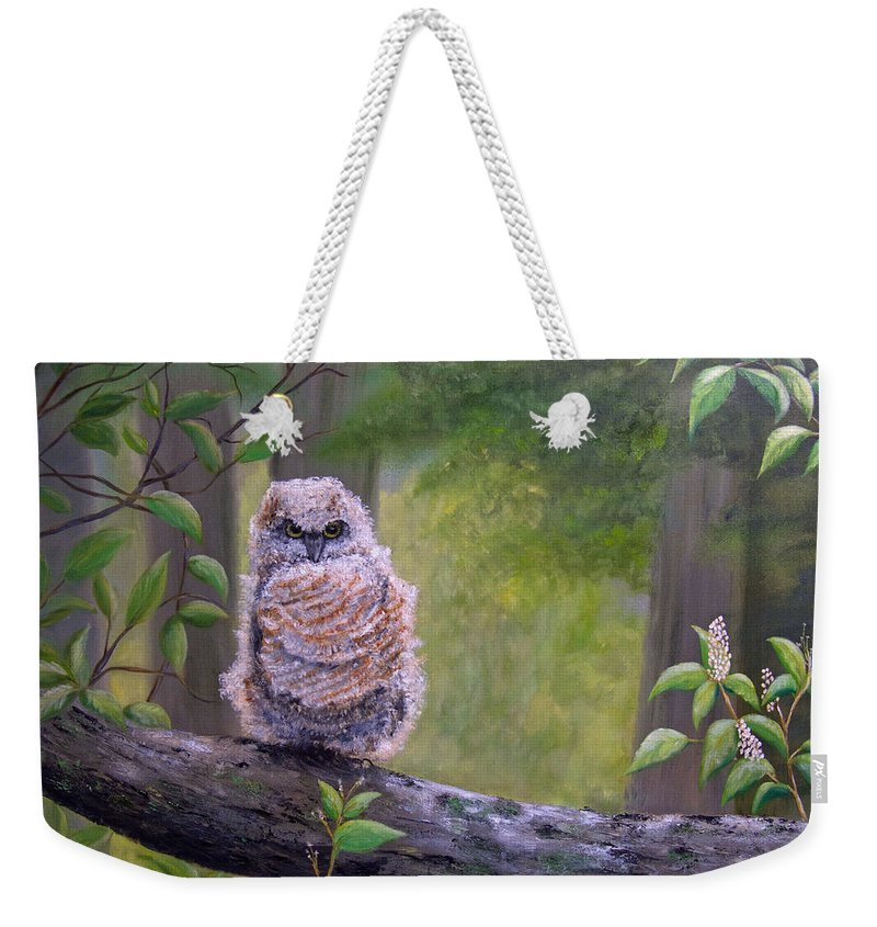 Owl Weekender Tote Bag featuring the painting Great Horned Owlette by Dee Carpenter