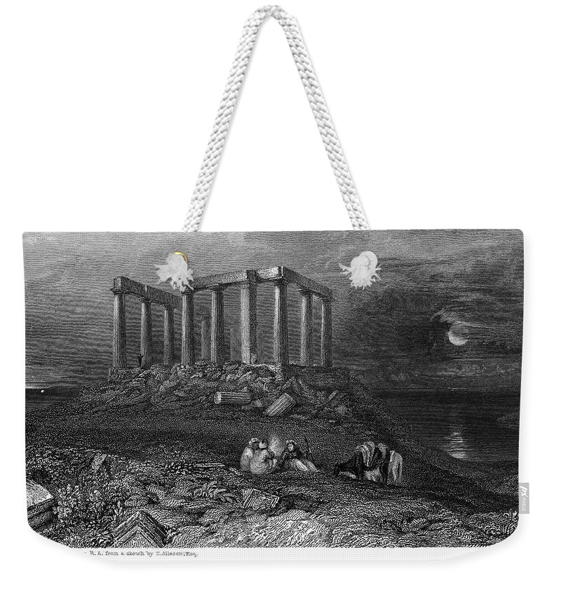1832 Weekender Tote Bag featuring the photograph Greece: Cape Sounion, 1832 by Granger
