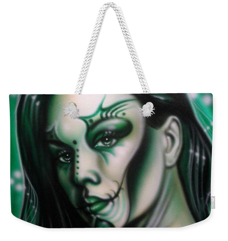 Fantasy Weekender Tote Bag featuring the painting Green Beauty by Timothy Scoggins
