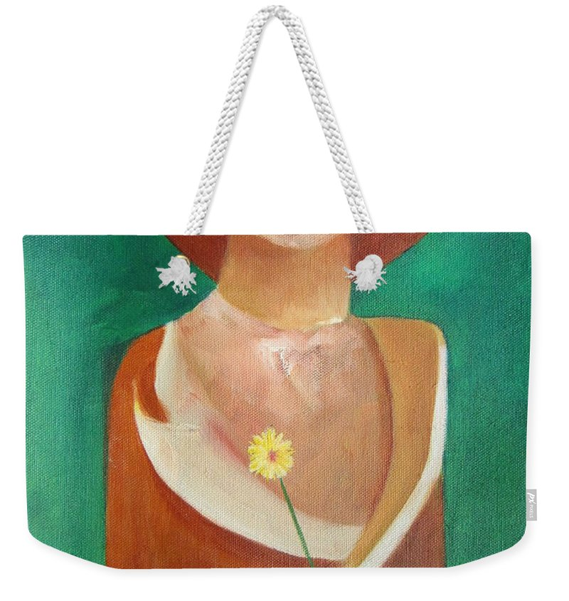 Original Weekender Tote Bag featuring the painting Green Eyes by Patricia Cleasby
