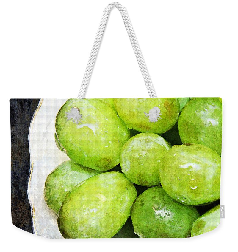 Grapes Weekender Tote Bag featuring the photograph Green Grapes On A Plate by Andee Design