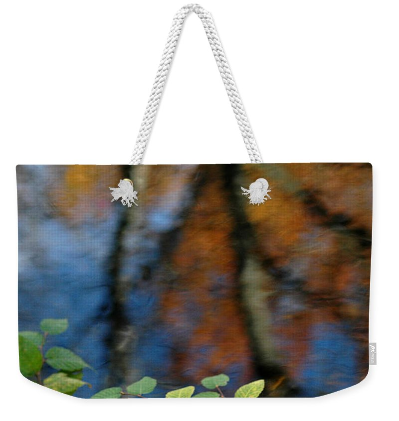 Green Leaves Weekender Tote Bag featuring the photograph Green Leaves And Autumn Reflection by Mike Nellums
