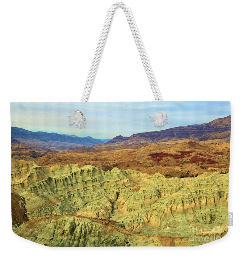John Day Fossil Beds National Monument Weekender Tote Bag featuring the photograph Green Mountains by Adam Jewell