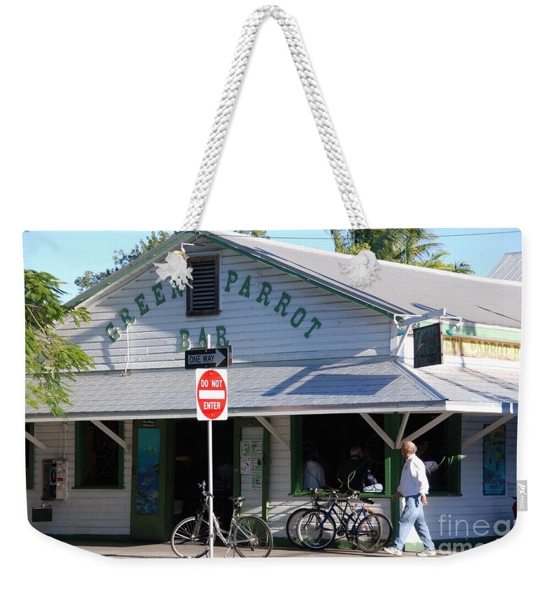 Key West Weekender Tote Bag featuring the photograph Green Parrot Bar In Key West by Susanne Van Hulst