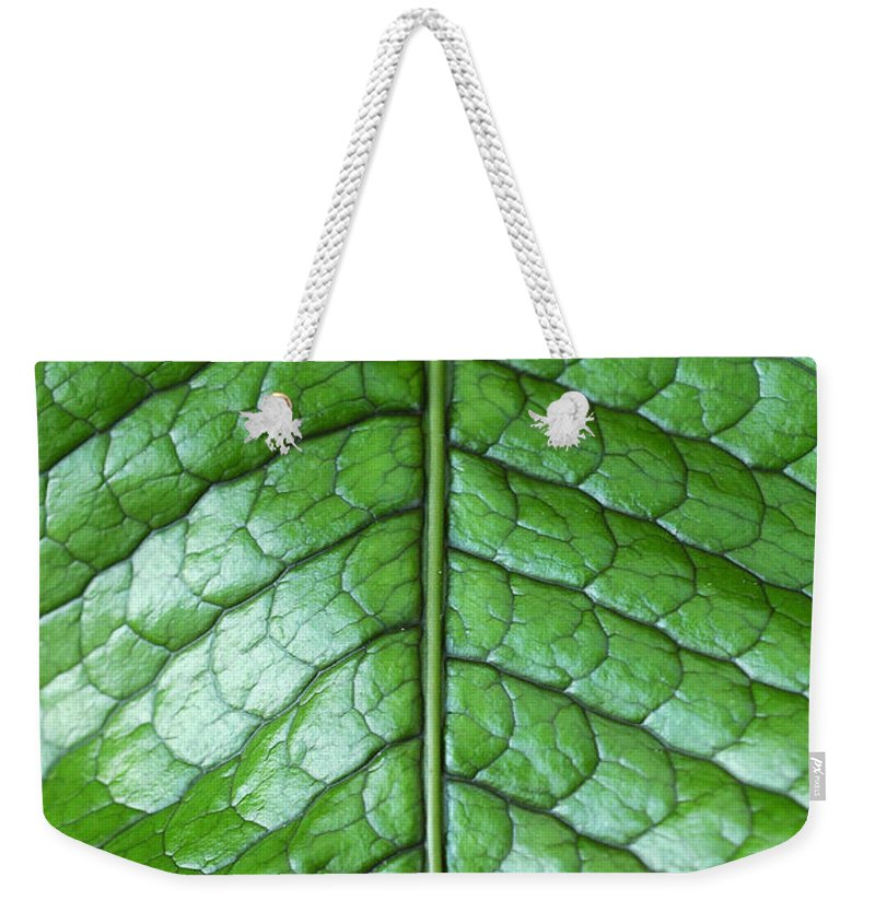 Green Weekender Tote Bag featuring the photograph Green Scaly Leaf Pattern by Mike Nellums