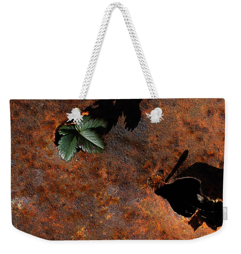 Abstract Weekender Tote Bag featuring the photograph Green Versus Rust by Susan Capuano