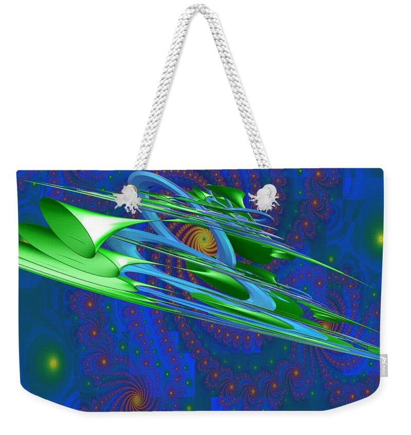 Ultra Fractal Weekender Tote Bag featuring the digital art Greenhorns by Mario Carini