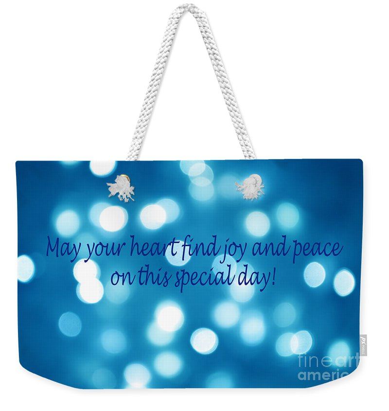 Christmas Weekender Tote Bag featuring the photograph Greeting Card Blue With White Lights by Christopher Shellhammer
