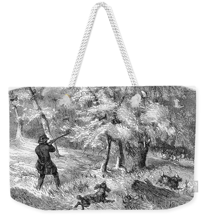 1855 Weekender Tote Bag featuring the photograph Grouse Hunting, 1855 by Granger