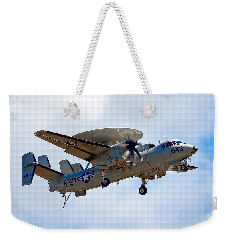 Airshows Weekender Tote Bag featuring the photograph Grumman E-2 Hawkeye by Bill Lindsay