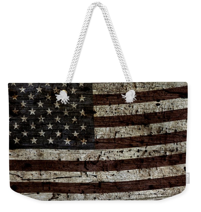 Usa Weekender Tote Bag featuring the photograph Grungy Wooden Textured Usa Flag2 by John Stephens
