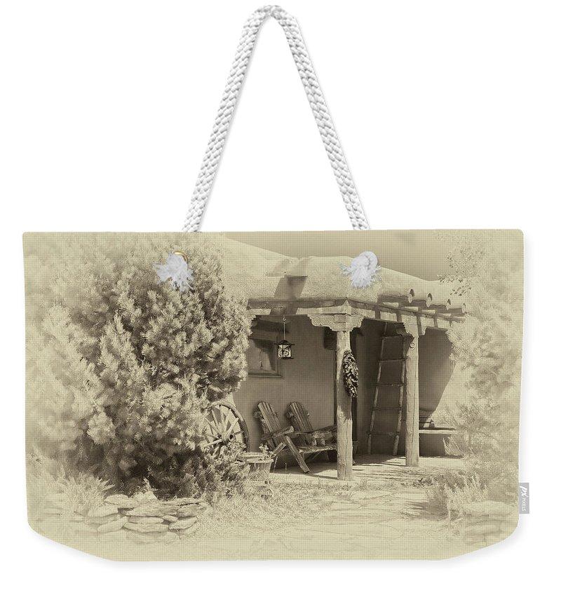 Santa Weekender Tote Bag featuring the digital art Hacienda Antique Plate by Charles Muhle