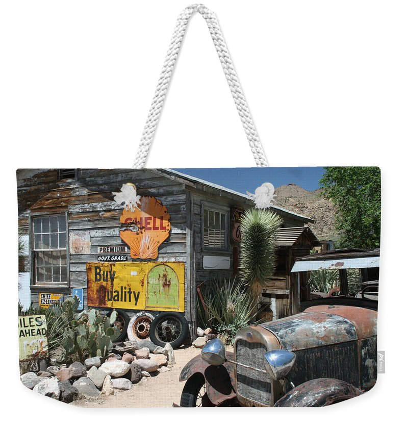 Hackberry Weekender Tote Bag featuring the photograph Hackberry Signs  Arizona Route 66 by Frank Morales Jr