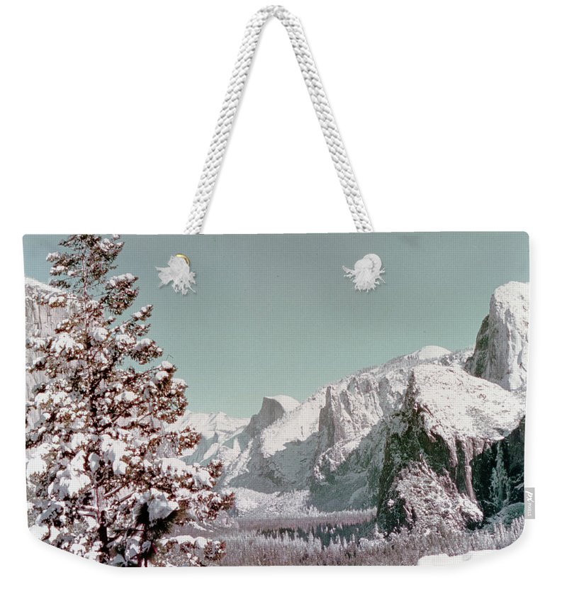 Scenery Weekender Tote Bag featuring the photograph Half Dome In The Snow by Greg Plamp