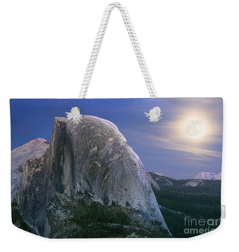 Half Dome Weekender Tote Bag featuring the photograph Half Dome Moon Rise by Jim And Emily Bush