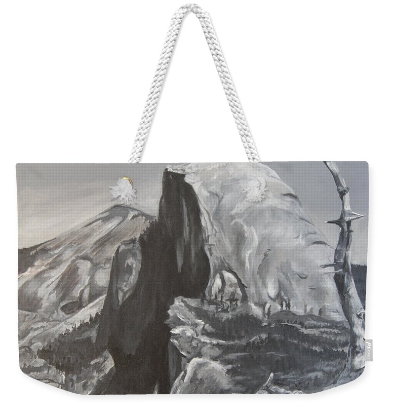Black And White Painting Weekender Tote Bag featuring the painting Half Dome Tree by Travis Day