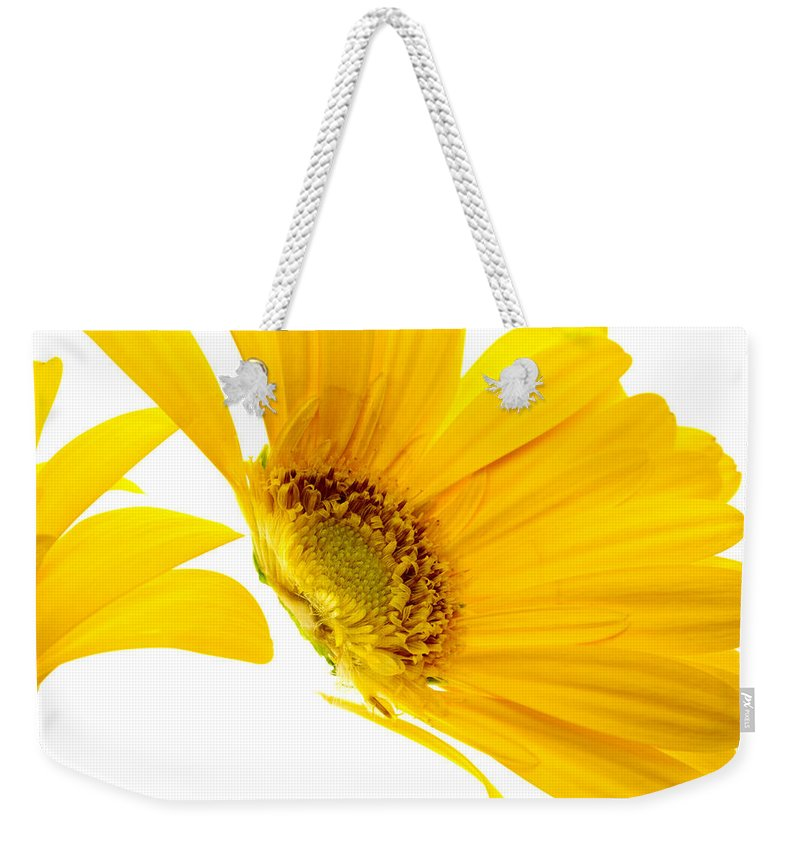 Spring Weekender Tote Bag featuring the photograph Half Yellow Gerbera by Brad Rickerby