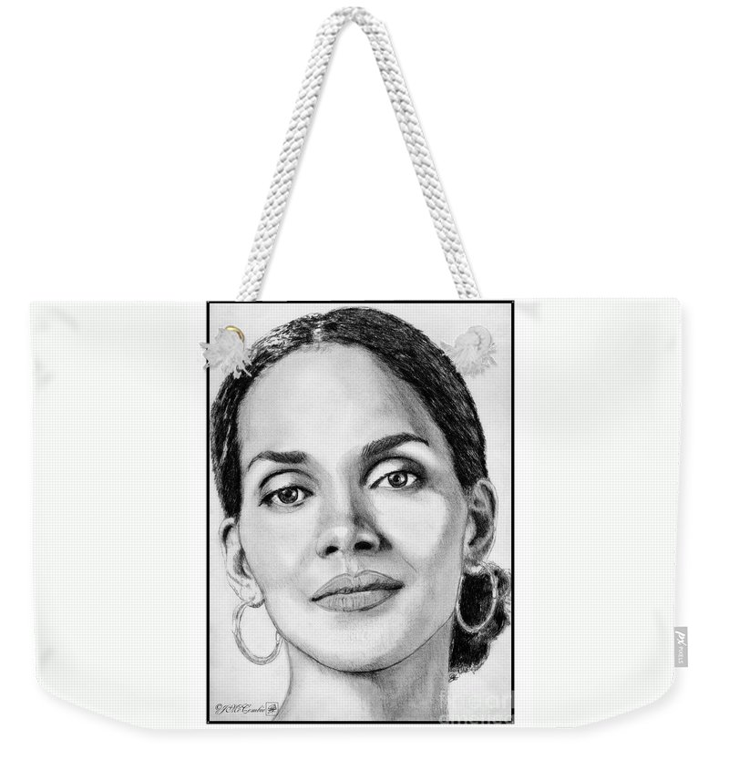 Halle Berry Weekender Tote Bag featuring the drawing Halle Berry In 2008 by J McCombie