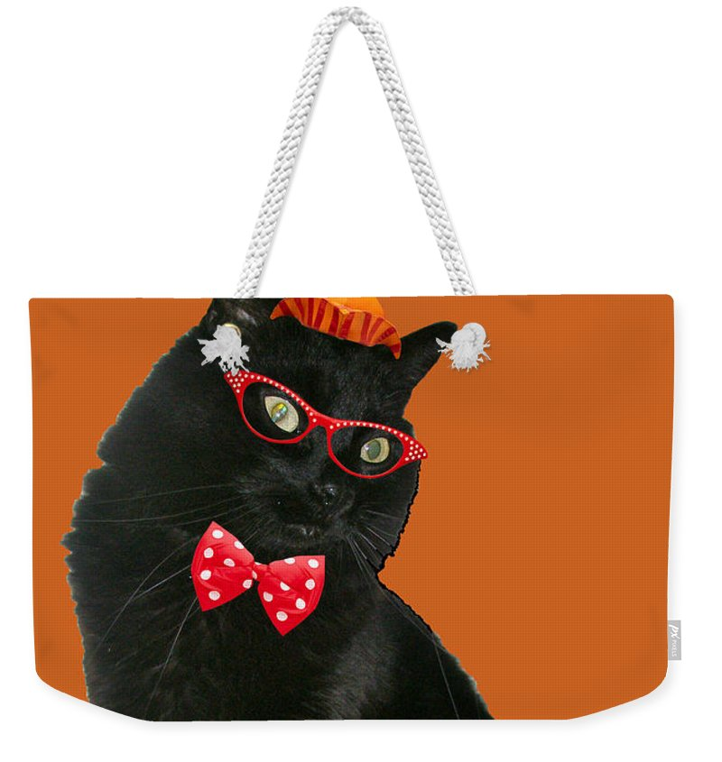 Halloween Weekender Tote Bag featuring the photograph Halloween Card - Black Cat Ready To Party by Mother Nature