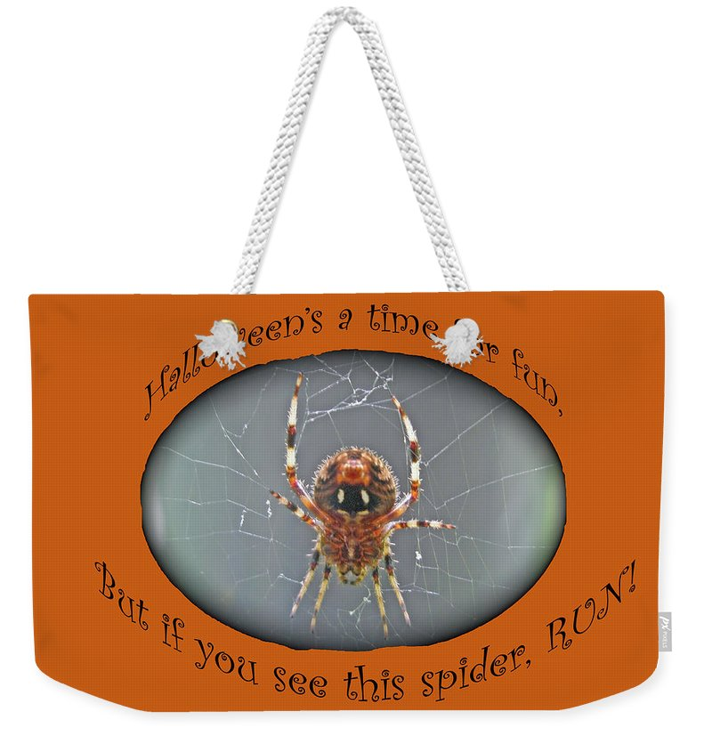 Halloween Weekender Tote Bag featuring the photograph Halloween Greeting Card - Marbled Orb Weaver Spider by Mother Nature