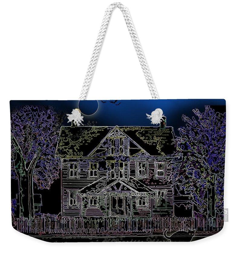 Black Cat Weekender Tote Bag featuring the painting Halloween Haunt by Clara Sue Beym