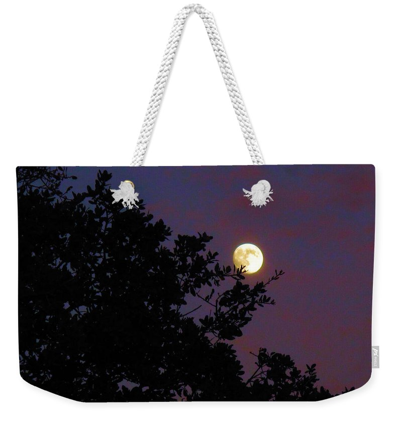 Moon Weekender Tote Bag featuring the photograph Halloween Moon 2009 by Joyce Dickens