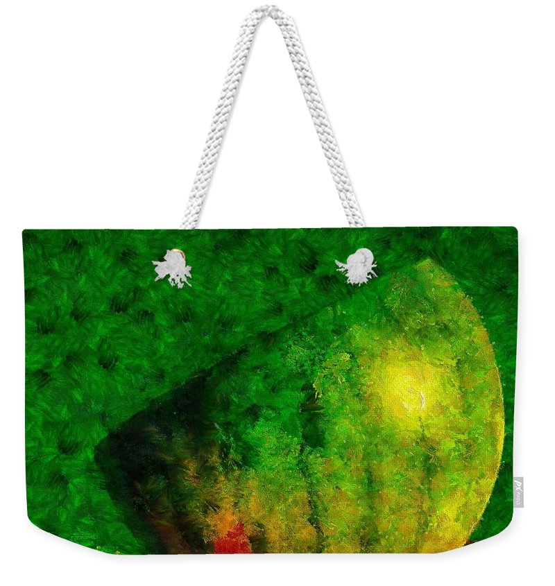 Watermelon Weekender Tote Bag featuring the painting Halves by Dragica Micki Fortuna