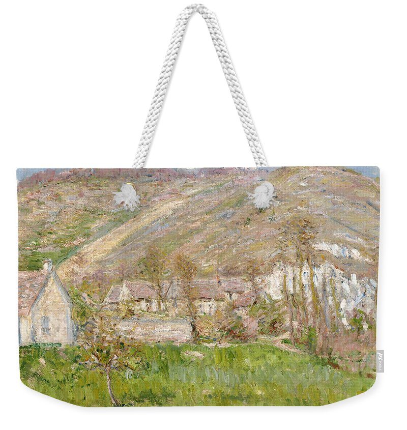 Hamlet On The Cliffs Near Giverny Weekender Tote Bag featuring the painting Hamlet On The Cliffs Near Giverny by Claude Monet