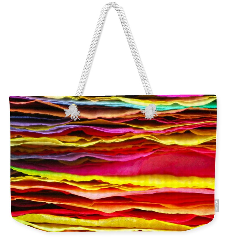 Colour Weekender Tote Bag featuring the photograph 300 Sheets 3 by Anita Bell