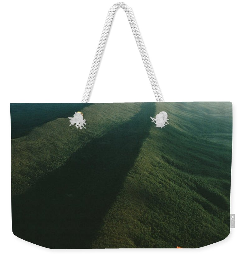Sports Weekender Tote Bag featuring the photograph Hang Glider Over Massanutten Mountain by Skip Brown