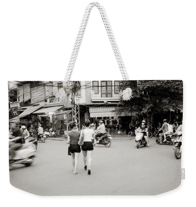 Asia Weekender Tote Bag featuring the photograph Hanoi Girls by Shaun Higson