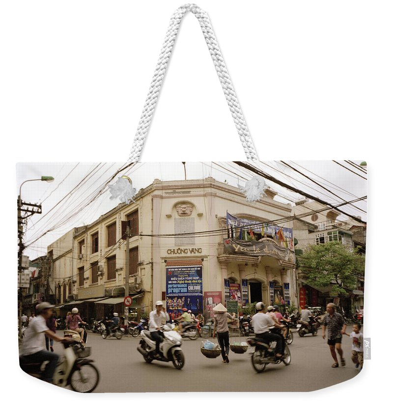 Asia Weekender Tote Bag featuring the photograph Hanoi Street Life by Shaun Higson